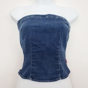 tommy jeans Strapless Stretch Denim Top Size Small